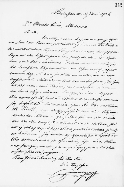 Paul Sinebrychoffin kirje Osvald Sirénille 28.6.1906