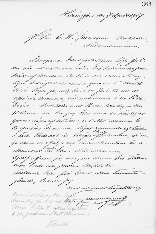 Paul Sinebrychoffin kirje C. W. Jansonille 7.4.1907