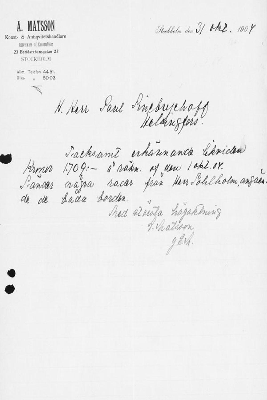 Abr. Matssonin kirje Paul Sinebrychoffille 31.10.1904