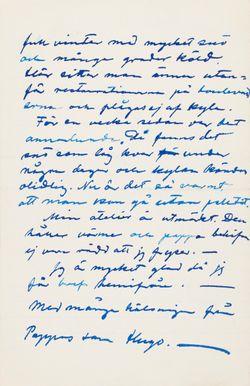 Hugo Simbergin kirje Niclas Eduard Simbergille 13.12.1903