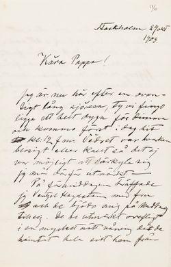 Hugo Simbergin kirje Niclas Eduard Simbergille 29.10.1903