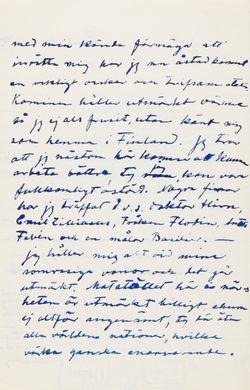 Hugo Simberg's letter to Niclas Eduard Simberg 16.11.1903