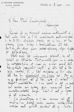 Carl Ulrik Palmin kirje Paul Sinebrychoffille 8.11.1901