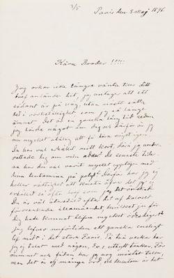 Hugo Simbergin kirje Paul Simbergille 3.5.1896