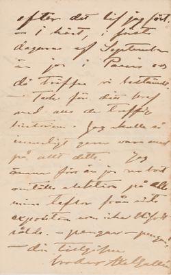 Akseli Gallen-Kallelan kirje Carl Dørnbergerille 1.3.1890