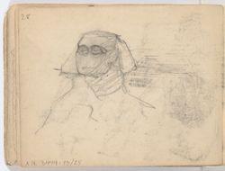 Luonnoskirja, kannessa Takhâ, Hathorin laulajatar, sotapäällikkö Imenemonetin hautareliefistä