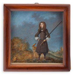 Metsästäjä (Kaarle XI?) koirineen
