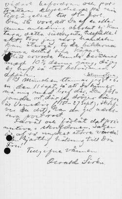 Osvald Sirénin kirje Paul Sinebrychoffille 5.9.1901
