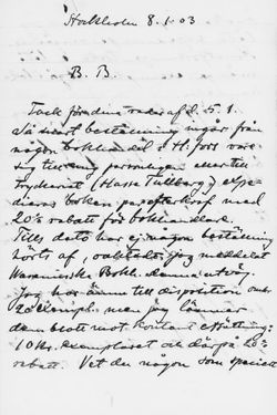 Osvald Sirénin kirje Paul Sinebrychoffille 8.1.1903