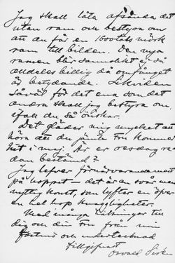 Osvald Sirénin kirje Paul Sinebrychoffille 19.3.1903