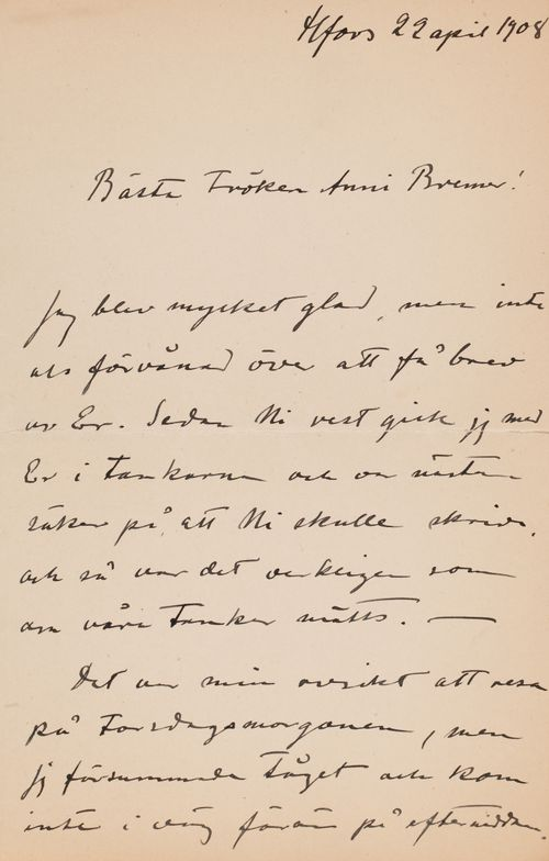 Hugo Simbergin kirje Anni Simbergille 22.4.1908