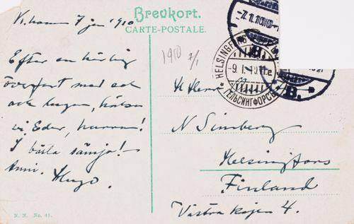 Hugo Simbergin kirje Niclas Eduard Simbergille 7.1.1910