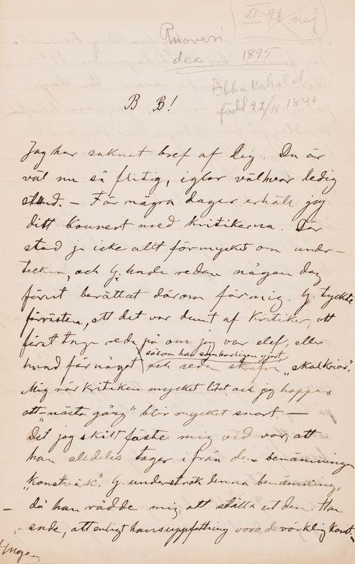Hugo Simbergin kirje Paul Simbergille joulukuu 1895 (?)