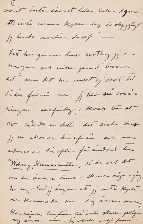 Hugo Simbergin kirje Anni Simbergille 2.6.1908