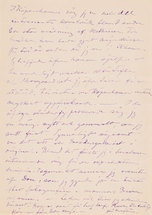 Hugo Simbergin kirje Niclas Eduard Simbergille 18.5.1906