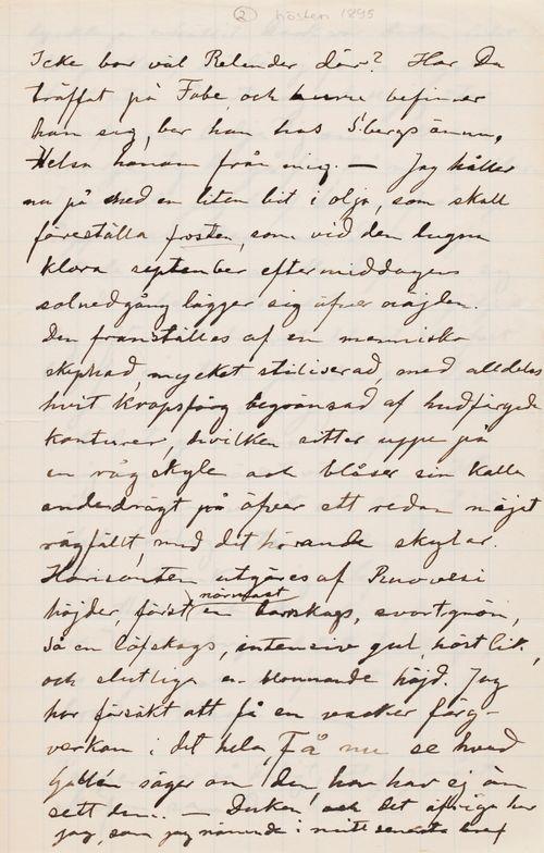 Hugo Simbergin kirje Paul Simbergille syksy 1895