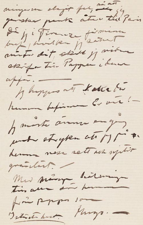 Hugo Simbergin kirje Niclas Eduard Simbergille 7.5.1904