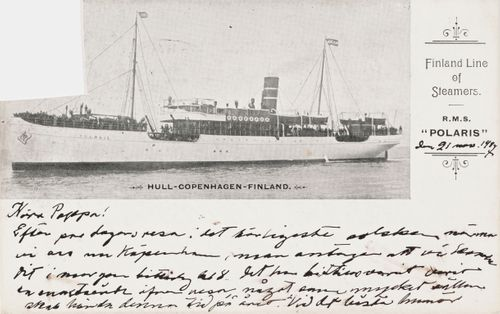 Hugo Simbergin kirje Niclas Eduard Simbergille 21.11.1907