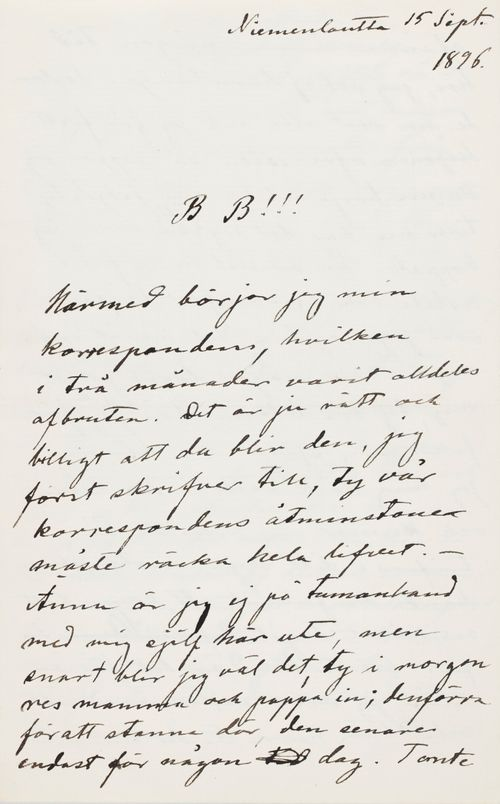 Hugo Simbergin kirje Paul Simbergille 15.9.1896