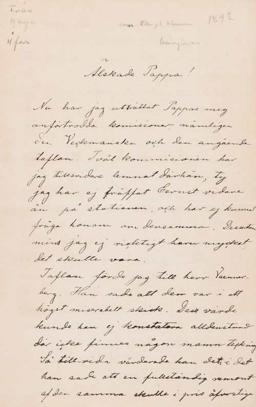 Hugo Simbergin kirje Niclas Eduard Simbergille alkuvuosi 1892