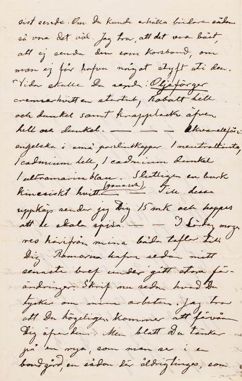 Hugo Simbergin kirje Paul Simbergille 8.10.1895 (?)
