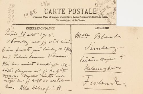 Hugo Simbergin kirje Blenda Simbergille 27.10.1908
