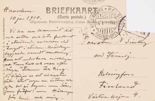 Hugo Simbergin kirje Niclas Eduard Simbergille 10.1.1910