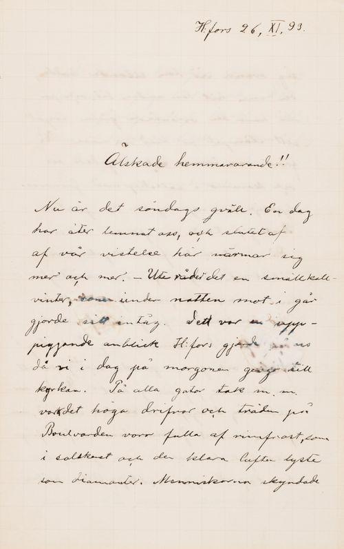 Hugo Simbergin kirje Ebba Mathilda Simbergille 26.11.1893