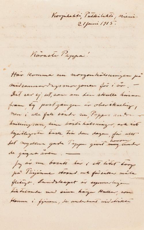 Hugo Simbergin kirje Niclas Eduard Simbergille 21.6.1915