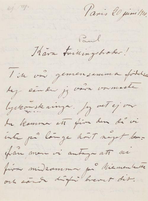 Hugo Simbergin kirje Paul Simbergille 20.6.1910