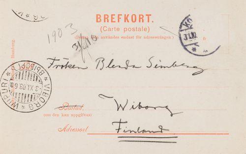Hugo Simbergin kirje Blenda Simbergille 30.10.1903