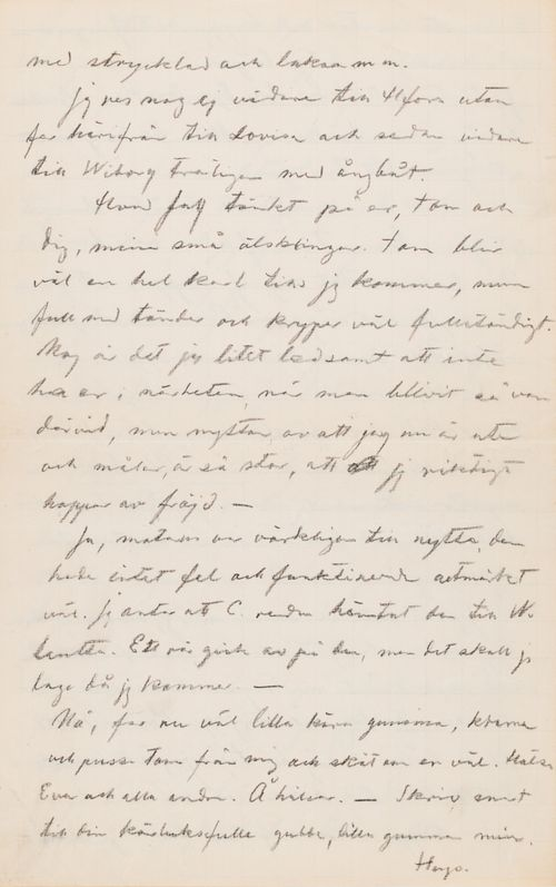 Hugo Simbergin kirje Anni Simbergille 10.7.1912