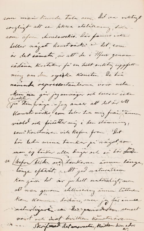 Hugo Simbergin kirje Paul Simbergille 2.2.1896
