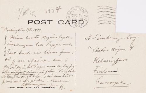 Hugo Simbergin kirje Niclas Eduard Simbergille 19.12.1907