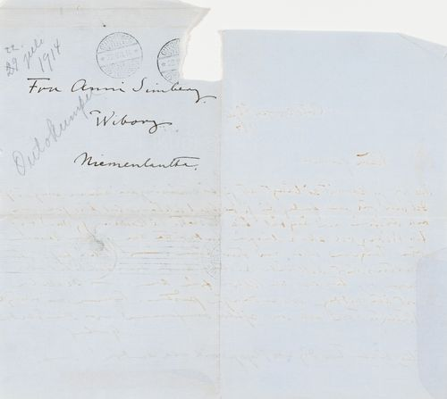 Hugo Simbergin kirje Anni Simbergille 22.7.1914