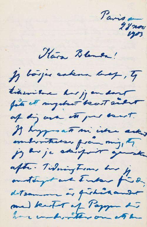 Hugo Simbergin kirje Blenda Simbergille 28.11.1903