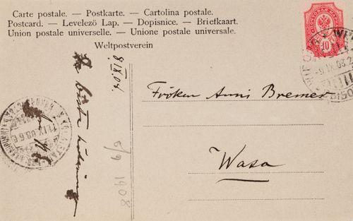 Hugo Simbergin kirje Anni Simbergille 8.9.1908