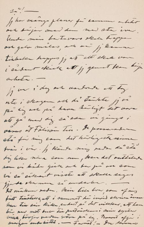 Hugo Simbergin kirje Anni Simbergille 7.6.1908