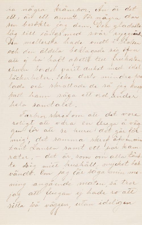 Hugo ja Anni Simbergin kirje Niclas Eduard Simbergille 15.3.1910