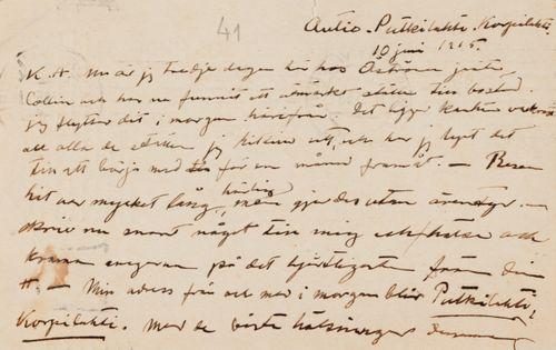 Hugo Simbergin kirje Anni Simbergille 10.6.1915