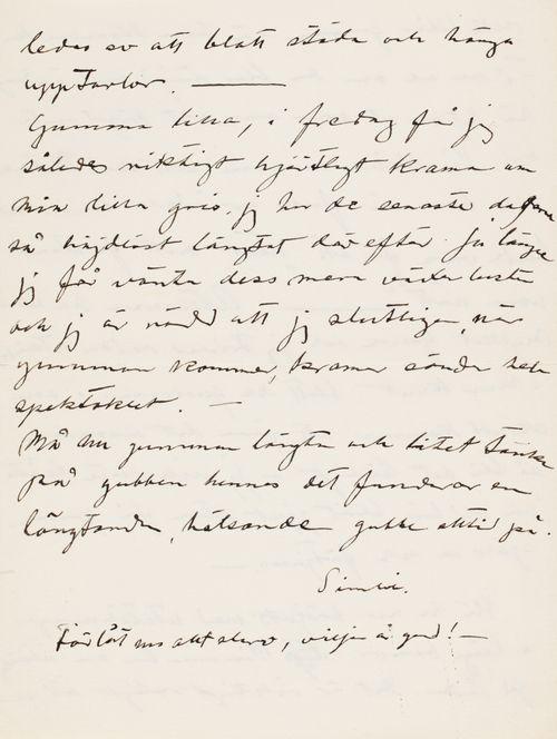 Hugo Simbergin kirje Anni Simbergille 3.10.1910