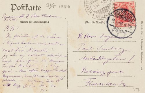 Hugo Simbergin kirje Paul Simbergille 31.5.1906