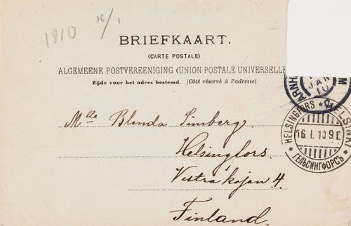 Hugo Simbergin kirje Blenda Simbergille 13.1.1910