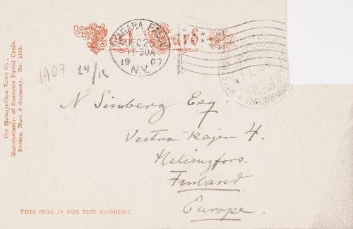 Hugo Simbergin kirje Niclas Eduard Simbergille 24.12.1907