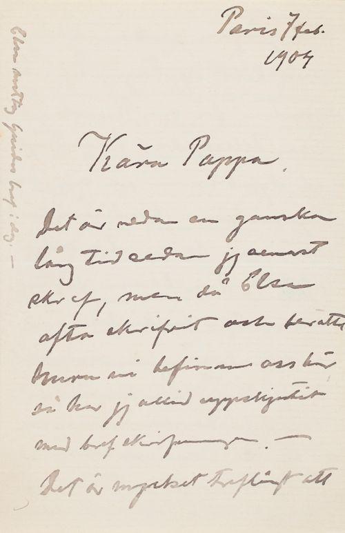 Hugo Simbergin kirje Niclas Eduard Simbergille 7.2.1904