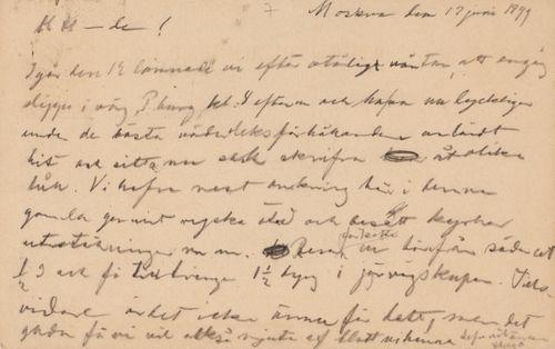 Hugo Simbergin kirje Niclas Eduard Simbergille 17.6.1899