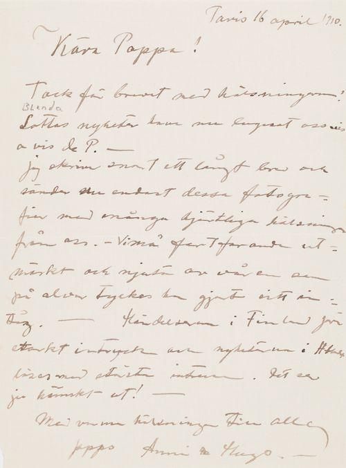 Hugo ja Anni Simbergin kirje Niclas Eduard Simbergille 16.4.1910