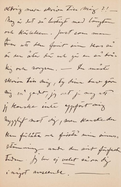 Hugo Simbergin kirje Anni Simbergille 9.10.1908