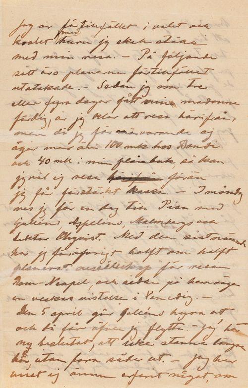 Hugo Simbergin kirje Blenda Simbergille 19.3.1898