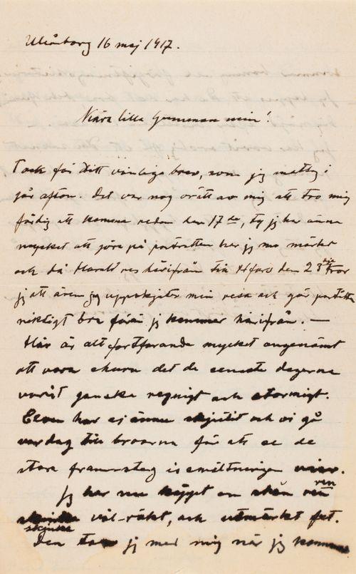 Hugo Simbergin kirje Anni Simbergille 16.5.1917